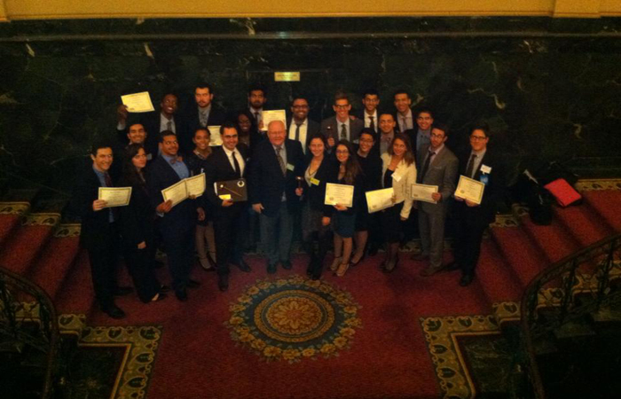 The FIU Model United Nations team poses at the 2014 Harvard National Model United Nations competition.