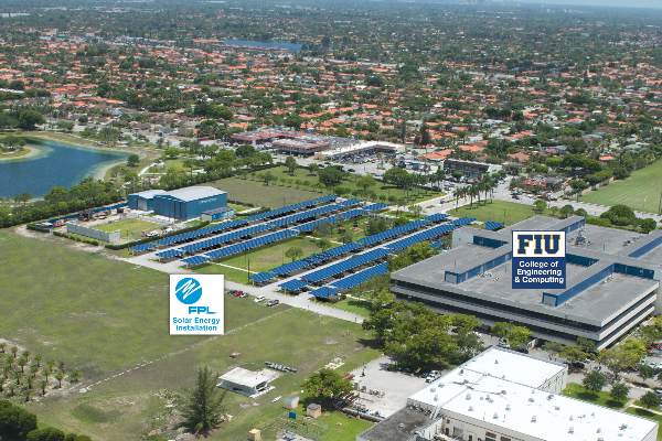 Artist's conceptual rendering of FPL solar parking canopies at Florida International University (FIU); the rendering depicts solar-powered parking canopies that Florida Power & Light Company plans to install in the parking lot of FIU's Engineering Center in 2015.