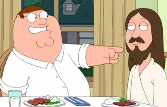 Family Guy's Peter Griffin having breakfast with Jesus.