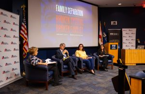Panelists (left to right: Cheryl Little, Juan Carlos Gómez, Martha Vallejo and Michelle Marie Ortiz) discuss the effects of immigration policies on family separation.