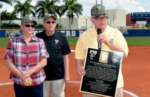 President Rosenberg dedicates the field at the newly renovated FIU Softball Stadium to the memory of Michael Felsberg. Photo by Alex Hernandez.