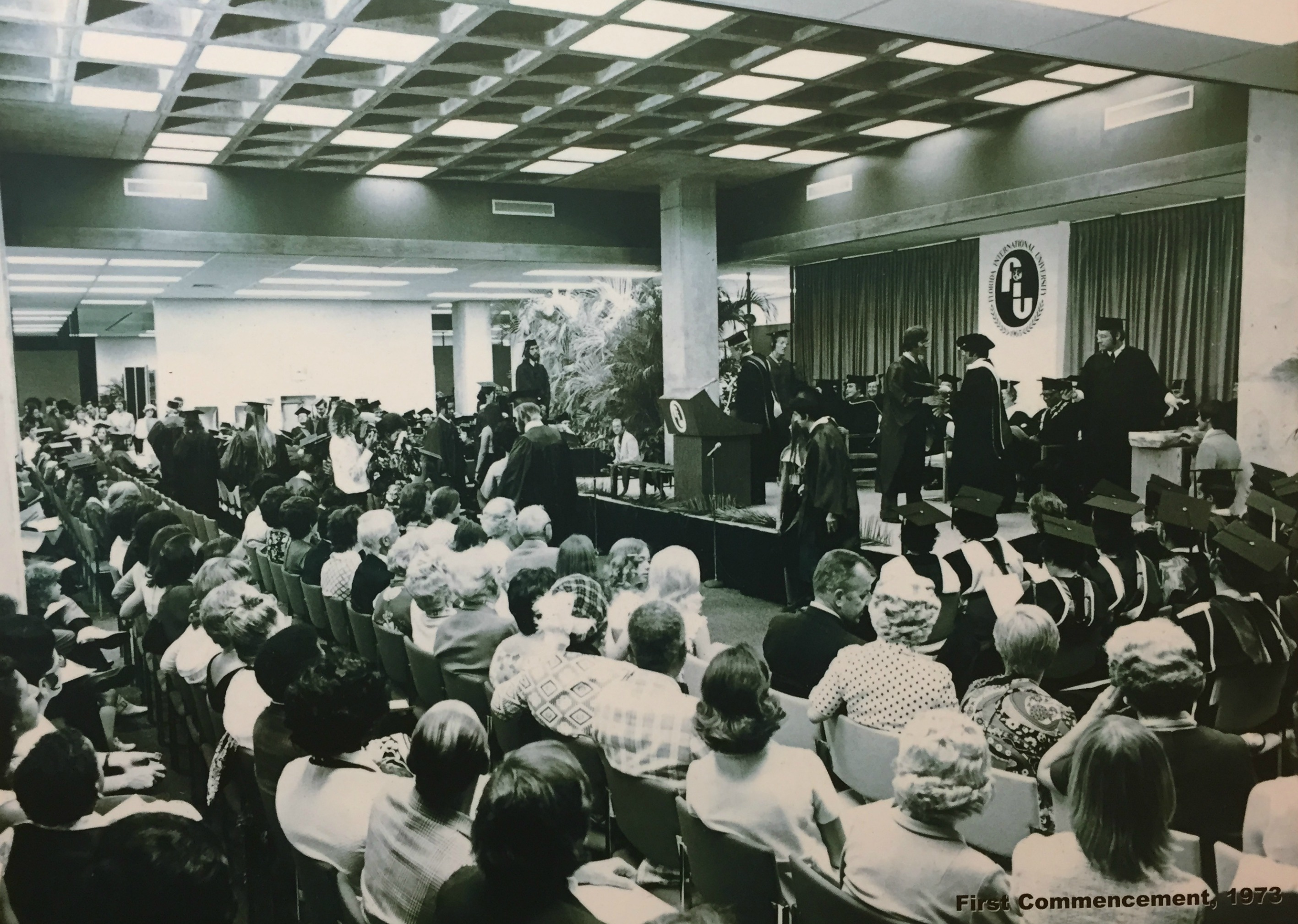 FIU used the first floor of Primera Casa, then housing the library, to hold the first commencement ceremony.