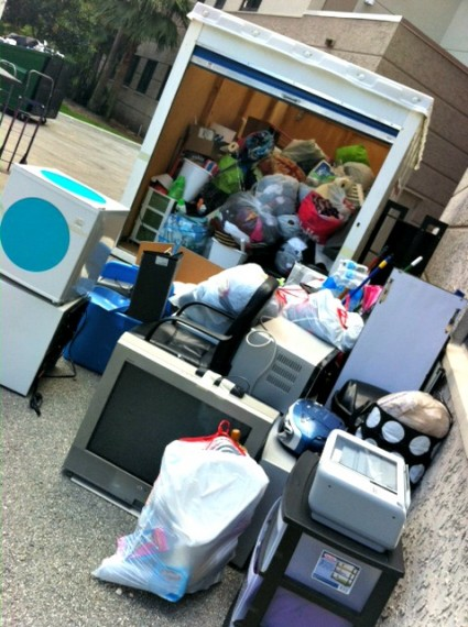 FIU students living in housing donated thousands of pounds of materials for the Give & Go Green project.