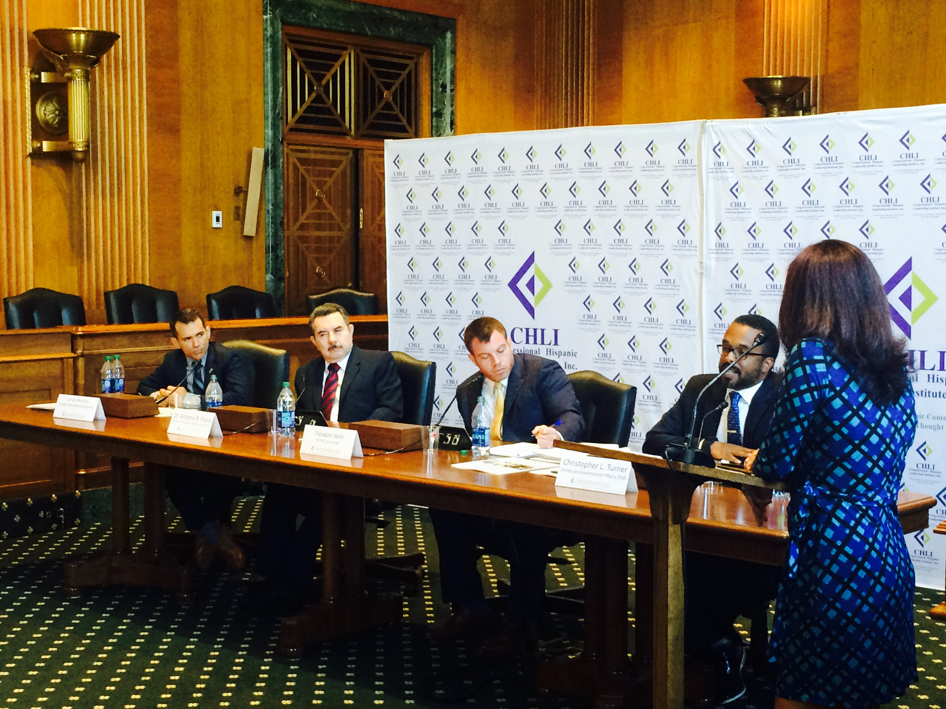 Panelists discuss the importance of increasing the amount of Hispanics in STEM fields. Pictured (left to right): Carlos Becerra (FIU), Dr. Antonio Flores (HACU), Ted Wells (STEMConnector), Cris Turner (Dell)