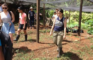 Ana Correa visits a farm in Bluefields, Nicaragua during her summer internship with blueEnergy.