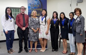 Students Lorraine Apolis, Francesca Bocarossi, Raquel Decaso, Ashleigh Douglas and Carla Santamaria pictured at the inaugural Global Learning Medallion ceremony.