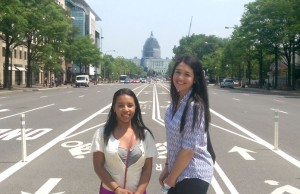 Abbeygale Chen-See and Semira Sanchez, the two winners of Global Learning's Transformation Contest pose for a photo with the U.S. Capitol in the background.