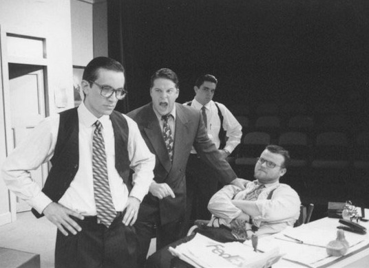 "Ivan Lopez, left, Joe Llorens, Ricky Waugh and Daniel Gutierrez, sitting, during the 2002 production of ""Glengarry Glen Ross."" They will all reprise their roles for the revival this August."