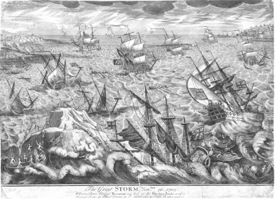 Engraving of the Great Storm of 1703, author unknown. Photo by public domain via Wikimedia Commons