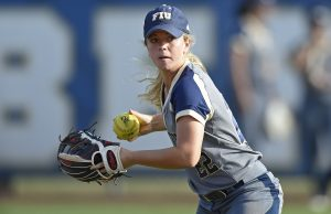 MIAMI, FL - FEBRUARY 12:  FIU player Sammi†Green (22) runs through drills prior to the game as the FIU Golden Panthers defeated the Memphis Tigers, 3-2 (9 innings) on February 12, 2017, at the FIU Softball Complex in Miami, Florida.
