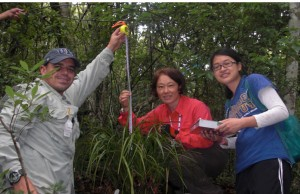 Jason Downing (left)  and Shan Wong (right) spent their summer months with Hong Liu (center) studying orchid conservation in southwest China.