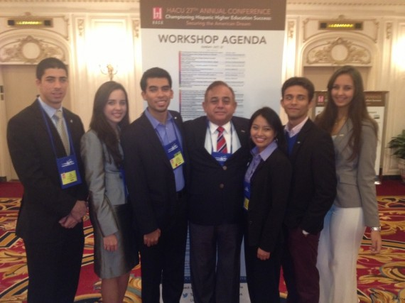 Hilarion Martinez, Associate Provost and Senior International Officer, with FIU students at the HACU conference in Chicago.