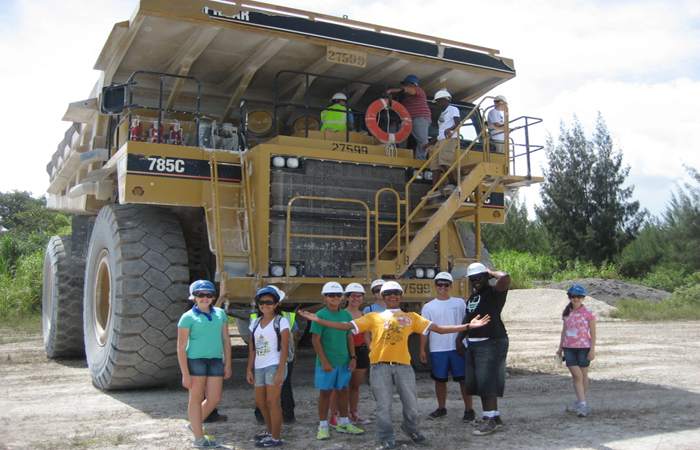 High school students participating in the 2013 summer workshop visit the CEMEX limestone quarry in Medley, FL.