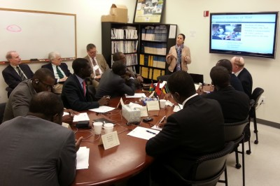 Tatiana Trejos, director of the Trace Evidence Analysis Facility at IFRI, explains the facility's research activities to the African delegation.