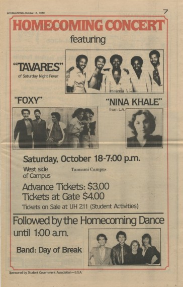Here is an ad for the 1980 FIU Homecoming Concert and the Homecoming Dance that appeared on the Oct. 15 issue of The International. Photo appears courtesy of the FIU Special Collections & University Archives.