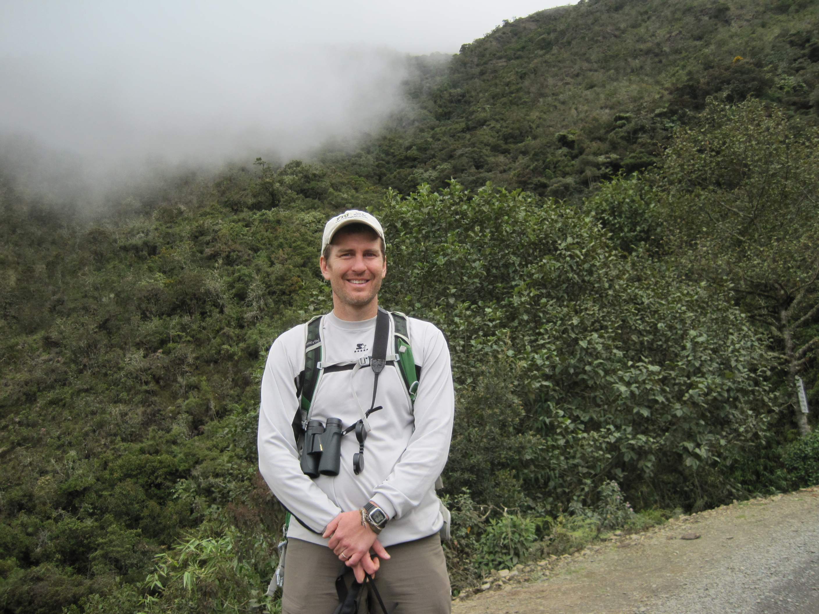 Kenneth Feeley poses at a tropical Andean cloudforest at 10,000 feet of elevation.