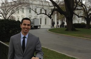 Raphael Garcia outside the White House. He is currently interning at a lobbying firm in D.C.
