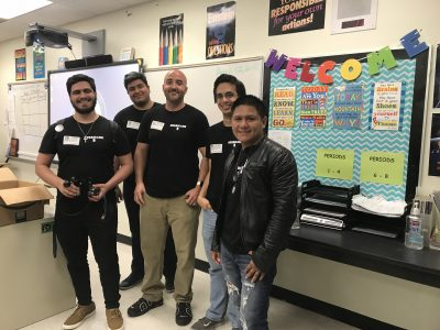 "From left to right: Georges Nicoli, Jose DeAndre, Rolando de la Osa, Kevin Riveron and Augusto Torres after presenting their project titled, ""Auto Shutters"" to students at G. Holmes Braddock Senior High School."