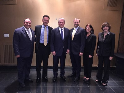 (From left to right) Brian Schriner, Patxi Pastor, Mike Heithaus and Evelyn Gaiser of FIU met with former U.S. Vice-President Al Gore (center) to discuss fow FIU is helping people understand, adapt and persevere in the face of sea level rise through the FIU Sea Level Solutions Center.