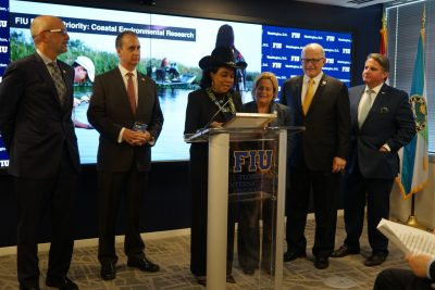 Congresswoman Frederica Wilson reads proclamation to be stored in Library of Congress announcing opening of FIU in D.C.