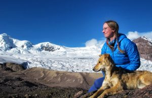 Kelsey Reider and her dog Karina take in the views of the high Andes Mountains in Peru.