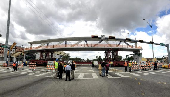 First Of Its Kind Pedestrian Bridge Swings Into Place