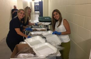 From left to right: Alyn Fernandez (Regional Director, Sen. Marco Rubio), Alina Garcia (Office of CFO Jimmy Patronis, South Florida Regional Manager for Department of External Affairs) and Jeanette Rubio (Wife of Sen. Marco Rubio) serve food for Hurricane Irma evacuees being sheltered at FIU.
