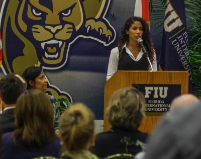 Former foster care student Ruth Rios, who graduated from FIU in 2010 and is now pursuing her master's in business administration, shares her story during an event to launch the Fostering Panther Pride initiative.