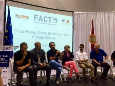 From left to right: Jeremy Kiszka (FIU), Mike Heithaus (FIU), Romain Trouble (Tara Expeditions), Francoise Gaill (Ocean & Climate Platform), Andre Abreu (Tara Expeditions) and Richard Snow (International SeaKeepers Society) raise public awareness on coral reefs and ocean biodiversity.
