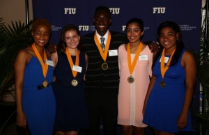 The awardees from left to right: Kristen Linton, Kandys Temes, Erick Magloire, Andrea Martinez-Bustamante and Marvah Benjamin