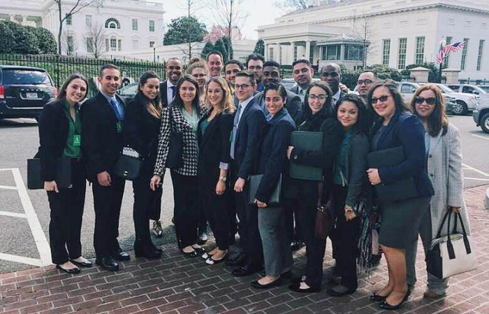 National Security fellows were hosted at the White House by alumnus Darren Martin '12, Office of Legislative Affairs