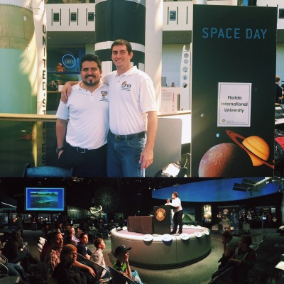 FIU Engineering students Jorge Cisternas and Edwin Moore present at the Smithsonian National Air and Space Museum