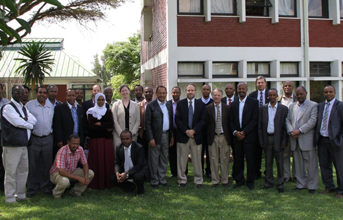 Researchers and USAID representatives pose at the launch of the Innovation Lab for Climate Resilient Chickpeas in Ethiopia.