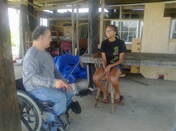 Maina interviews an Isle de Jean Charles resident