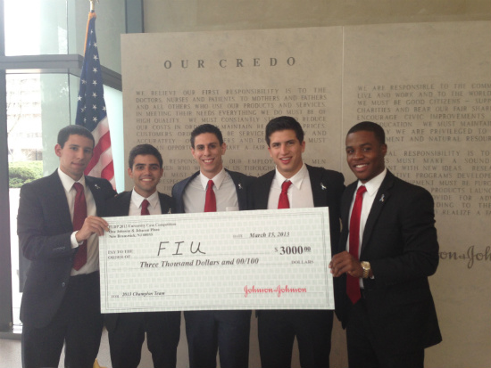 The winners of the 2013 Johnson & Johnson (J&J) case competition: Marc Diaz, Boris Mizrahi, Adrian Cabrera, Martin Falconi and Jerome Lynch