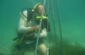 James Fourqurean collects soil samples from a seagrass bed in Shark Bay, Australia in 2011.