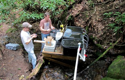 John Kominoski (R) performs maintenance on a water pump as part of a study on the ability of streams to support aquatic life. Credit: Jon Benstead/University of Alabama
