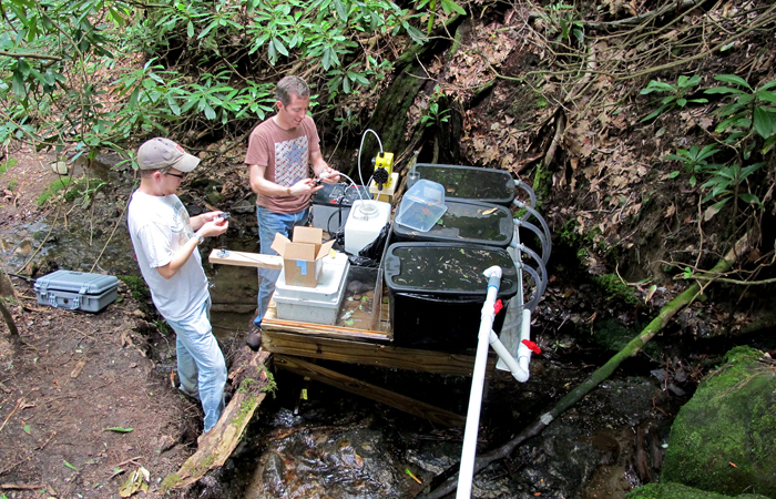 David Manning (L), University of Georgia doctoral student, and John Kominoski (R) perform maintenance on the pump used to add nutrients to one of the streams in their experiment. Credit: Jon Benstead/University of Alabama