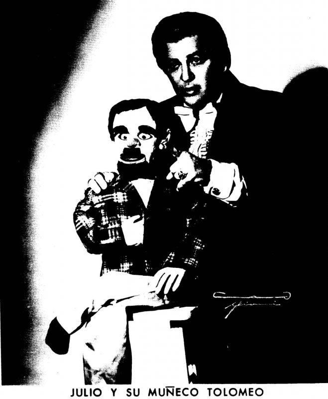 Jose Gracia as a ventriloquist with his doll, Tolomeo.