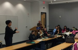 "Author Kekla Magoon meets with FIU students to discuss her latest book ""How It Went Down"" as part of the Writers for Young Readers program."