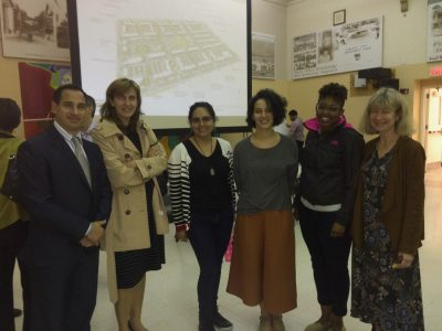 This team of architecture students, alumni and faculty facilitated community engagement sessions in Liberty Square regarding redevelopment of the neighborhood. Left to right: FIU By Design director Mark Marine, Sara Garaulet MAA '16, Frida Ulloa, Crismary Pascarella MArch '15, Ruth Brooks MArch '15, MAA '16, professor Marilys Nepomechie