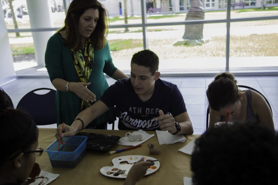 Miriam Machado teaches Panther LIFE students about pre-Columbian artifacts