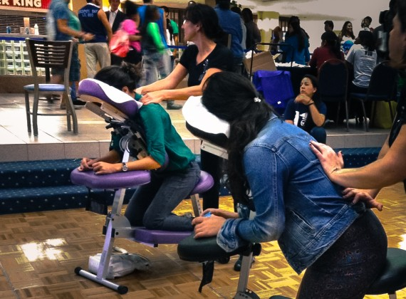 Student receives a free massage during Finals Week at FIU.