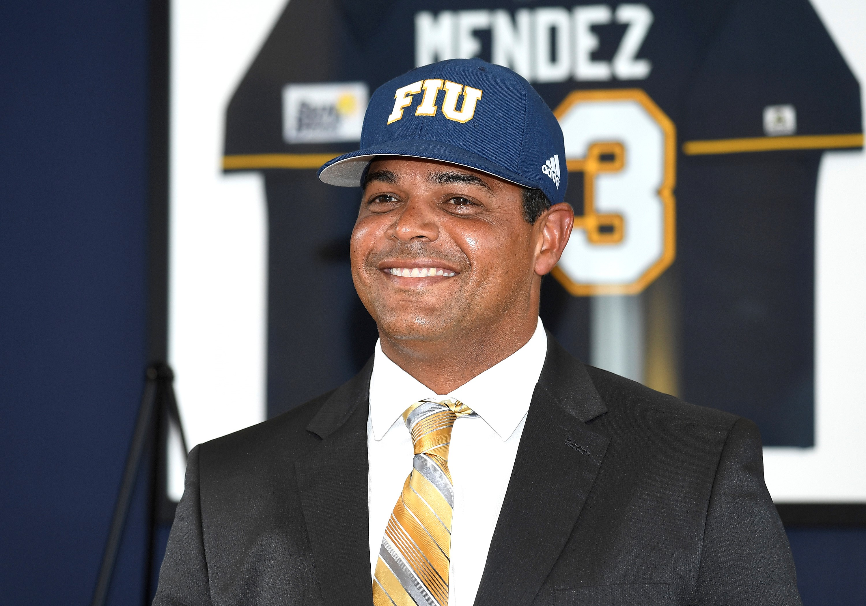 Mervyl Melendez was all smiles as he was introduced as the new head coach for FIU baseball at a press conference June 28. Photo by Richard Lewis.