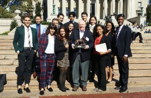 "The FIU Model UN team poses with Dr. John Stack, executive director of the School of International and Public Affairs, after winning ""Best Small Delegation"" at the Columbia Model United Nations in early Oct."