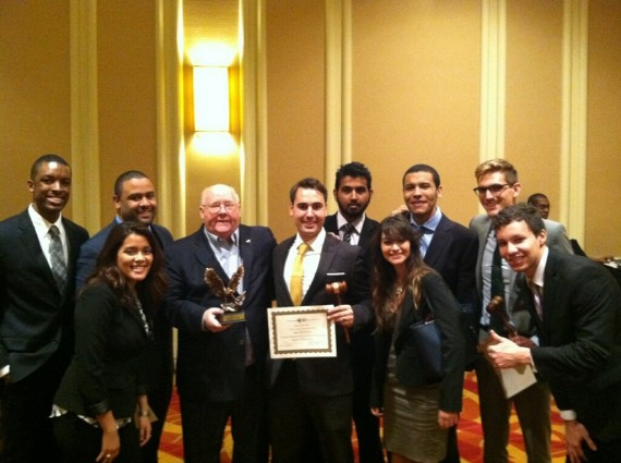 John Stack, director of the School of International and Public Affairs, with the FIU Model UN team.