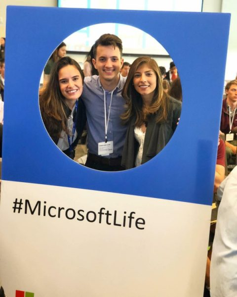 Avila-Cardet with his colleagues at Microsoft.