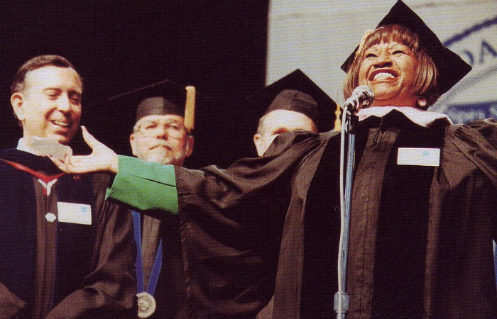 Celia Cruz was awarded an honorary doctorate degree in music at FIU's 1992 spring commencement ceremony.