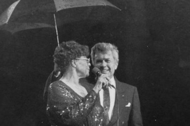 On Oct. 28, 1983, renowned jazz artist Ella Fitzgerald sang at Biscayne Bay Campus and when it began to rain during her performance, President Wolfe jumped on stage with an umbrella in hand to keep Fitzgerald dry.