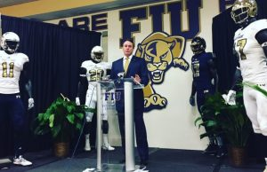 Head Coach Butch Davis announces his first signing class as FIU's coach at a National Signing Day press conference on Feb. 1.